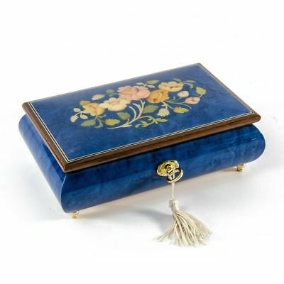 Radiant 18 Note Royal Blue Floral Inlay Musical Jewelry Box with Lock and Key