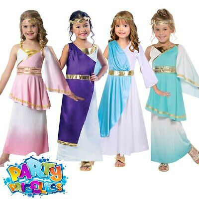 Kids Girls Greek Goddess Costume Roman Toga Childs Fancy Dress Outfit Book Day