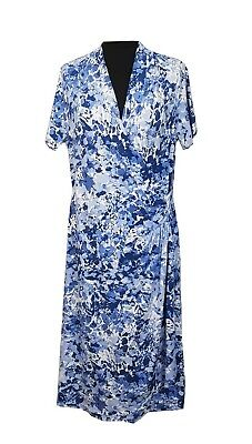 DASH Dress Size 16 Blue White Floral Races Wedding Evening Party Holiday