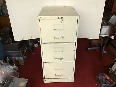 Vintage Industrial Shabby Chic Painted White Heavy Steel Filing Cabinet 3 Drawer