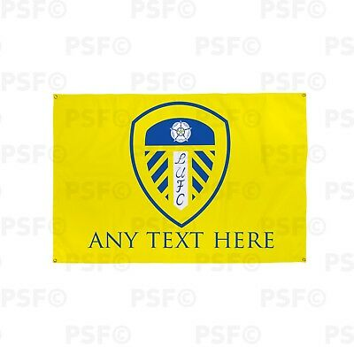 Leeds United FC Official Personalised Single Crest Yellow Fabric Banner LB002