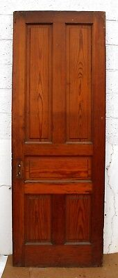 "30""x83"" Antique Vintage Victorian Heart Pine Wood Wooden Interior Door 5 Panels"