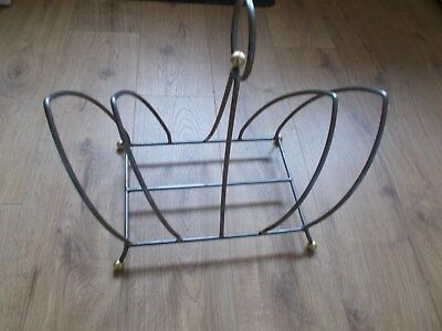Vintage Retro Mid Century Style Grey & Gold Magazine Rack Stand Collectable