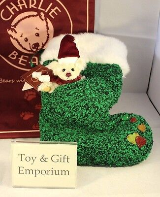 SPECIAL OFFER! Charlie Bears GREEN Christmas Sock with Miniature Bear RRP £30