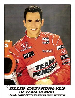 2009 HELIO CASTRONEVES signed 2 time win INDIANAPOLIS 500 PHOTO CARD INDY CAR
