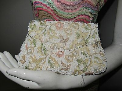 1950's Vintage Jolles Original Embroidered Flowered Pastel Beaded Evening Purse