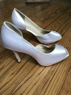"Michaelangelo White Open Toe Shoe 9W Wide 4"" Heel Wedding Michele"