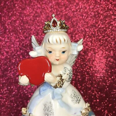 Vtg Queen Of Hearts February Valentine Angel Girl Red Heart Crown Figurine Japan