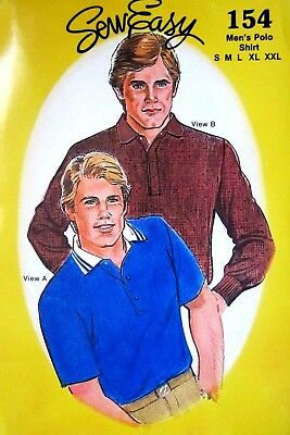 Sew Easy 154 Sewing Pattern Men's Polo Shirt size S-M-L-XL-XXL Uncut
