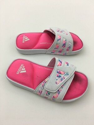 d65f7f7b5ab08 Adidas Girls Adissage Comfort K Slides Sandals White Pink S77289 Fitfoam  Size 2