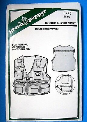 The Green Pepper F775 Sewing Pattern Adult Rogue River Vest Fishing Cargo XS-XL