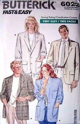 Butterick 6022 Sewing Pattern 1980's Unisex Unlined Jacket size S-XL Uncut