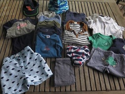 LOT OF 15 BABY BOY CLOTHES SWIM SHIRTS OUTFITS SIZE 6 MONTHS 6-9 Months