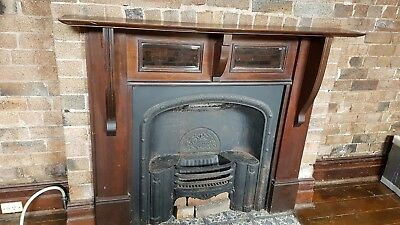 Vintage Victorian Cast Iron Fireplace With Timber Mantlepiece With Beveled...