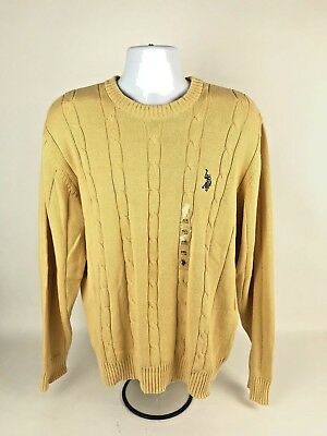 US Polo Assn Men's Yellow Cable Knit Long Sleeve Pull Over Sweater XXL 2XL NWT