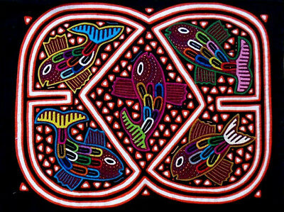 Kuna Indian Art. Hand Stitch. FISHES -500. Mola Art of Panama.