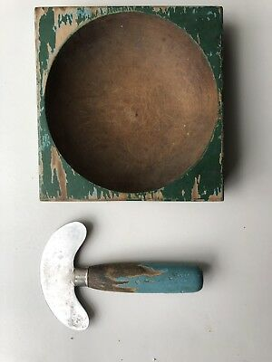 Vintage turquoise colored wooden and metal food chopper with Green wooden Bowl,