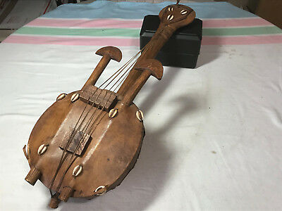 "Gourd Stringed Insturment Africa?? 26"" Long Four Strings"
