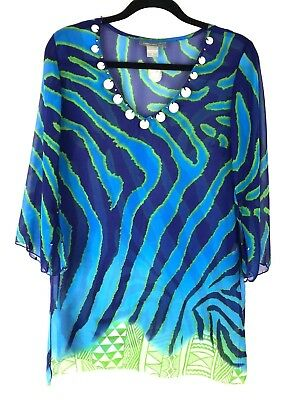 d009acc997 Peppermint Bay Womens Sheer Swim Beach Cover Up Dress Navy Green Turquoise  Sz S