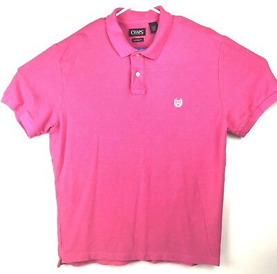 Chaps Mens Polo Shirt Custom Fit Short Sleeve Hot Pink Casual Sz XL