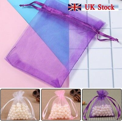 100x Large Organza Favour Pouches Gift Bag Voile Net Bags Drawstring Colorful