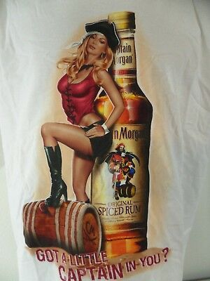 Captain Morgan Got A Little Captain In You Wench Sexy Pirate XXL T Shirt Stain