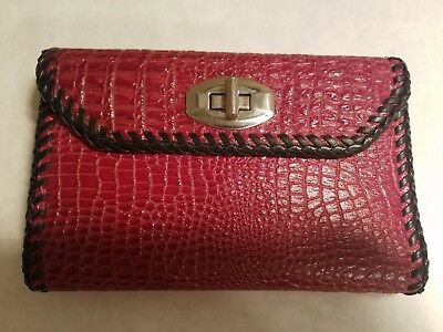 Vtg Hand Made Red Reptile Leather Wallet Fancy Stitching Pocketbook Clutch Purse