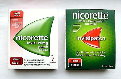 NICORETTE INVISI 10mg / 15mg / 25mg Patches X 7 (Choose Strength) USE DROP MENU