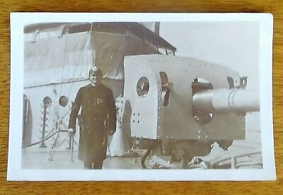 WORLD WAR I  WWI  REAL PHOTO of RUSSIAN OFFICER on BATTLE SHIP