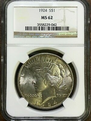 1924 Peace Silver Dollar - NGC MS62 - BRILLIANT UNCIRCULATED - #229-042