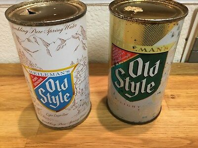 2 Old Style (108-22 & 108-18) empty flat top beer cans by Heileman's, La Crosse,