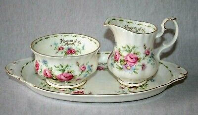 Royal Albert ' Flower Of The Month  ' Milk & Sugar Set - English Bone China