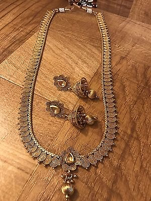 Indian Pakistani Ethnic Antique Gold Plated Jewelry Pendant Necklace Earring Set