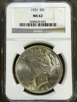 1922 Peace Silver Dollar - NGC MS62 - BRILLIANT UNCIRCULATED - #229-025