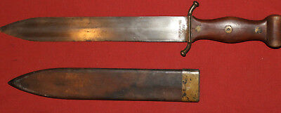 Antique 1876 German Berlin hand made stainless steel short sword with scabbard