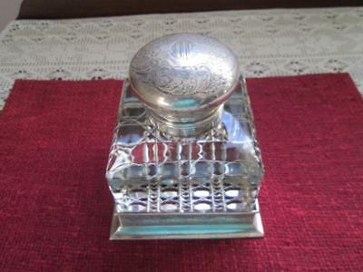 Antique Vintage Sterling Silver & Cut Crystal Ink Well Baily Banks Biddle Phila.