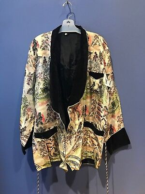 Hairi Jacket, Vintage, Japanese, Landscape Motiff, Velvet Collar & Sleeve Ends M