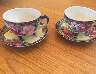 Lot Of Two Antique Nipon Handpainted Cups And Saucers
