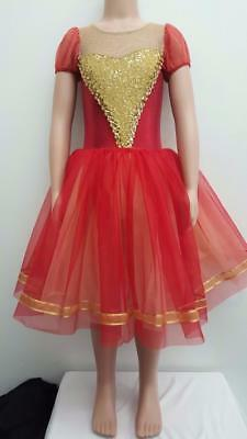 Dance Costume Small Child Red Gold Ballet Tutu Tap Solo Competition Pageant