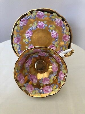 Queen Anne Tea Cup & Saucer Heavy Gold Roses England