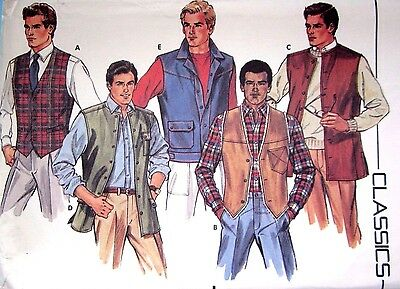 Butterick 6970 Vintage Sewing Pattern 1980's Men's Vest size 40 Uncut