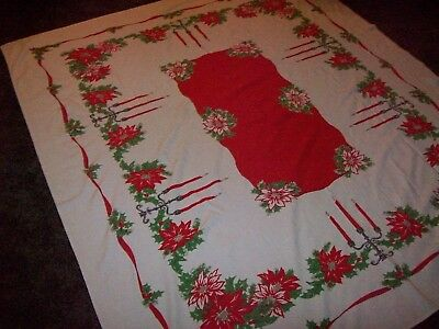 VINTAGE Tablecloth Christmas Poinsettias, Holly, Ribbon, Wrought Iron Candelabra