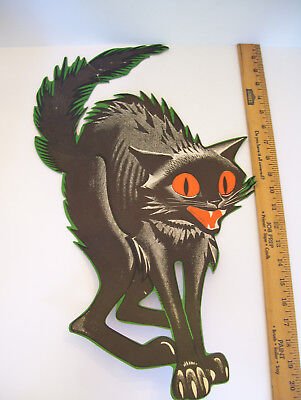 "21"" Vintage Halloween Black Cat Die Cut Decoration"