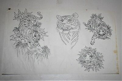 "Vintage Tracings of Tattoo Designs 9"" X 14""  I always Combine Shipping"