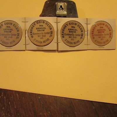 4 large wooden tokens hrshey coin club 1971 mr. mrs. milton hershey