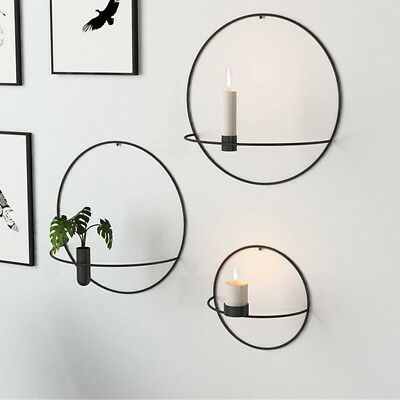 Wall Mounted 3D Geometric Round Tea Light Candle Holder Metal Candlestick Decor