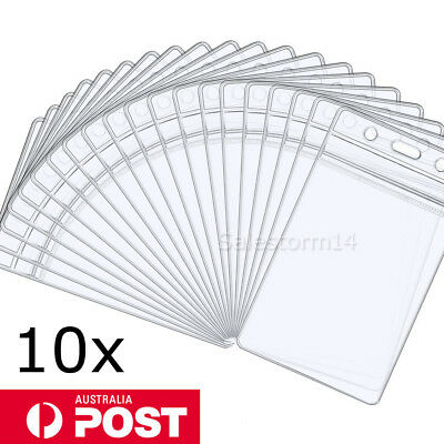 10x Clear Plastic ID CARD BADGE HOLDER POUCH PVC Lanyard Work Zip Lock Travel OZ