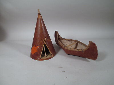 Vintage Menominee Hand Made Native American Souvenir Birch Bark Canoe & Teepee