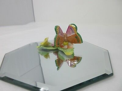Small Hand Painted Herend-Hungary Porcelain Butterfly on Leaf. Good Condition.