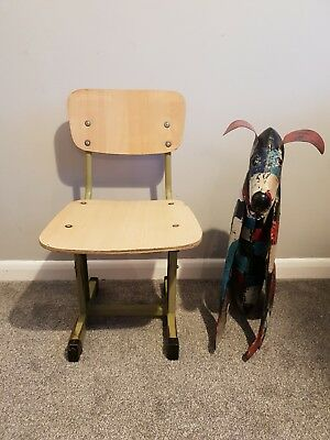 Vintage retro mid-century metal industrial chair with twin telescopic legs